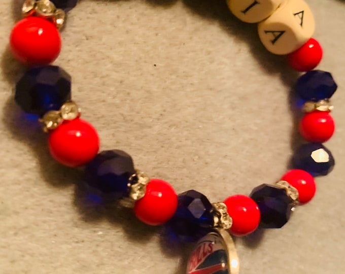 Mafia Red/Blue Beaded Stretch Bracelet with charm (pictured)