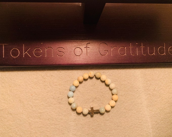 Amazonite Natural stone beaded stretch bracelet with silver colored cross bead