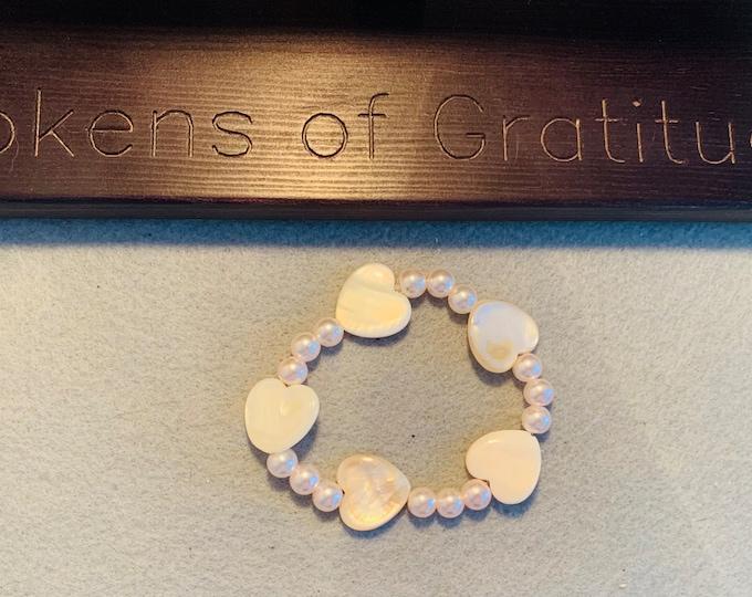 Heart Bracelet (sea shell heart  beads)