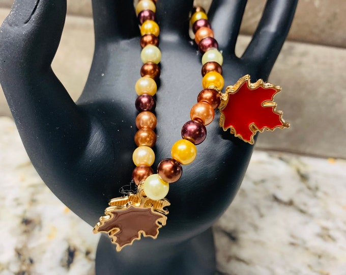 Fall/ Thanksgiving/ Halloween Beige and Brown Fall Leaf beaded stretch bracelet with leaf charms (pictured)