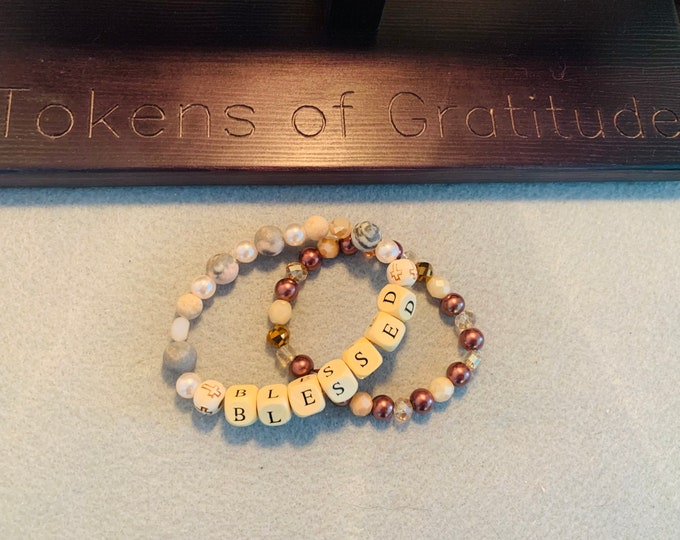 """Beige, Light Pink and Brown Personalized beaded bracelet Set (pictured- """"BLESSED"""")"""