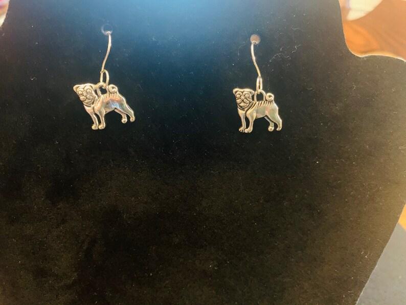 Customer Chooses Plain or in Circle Silver Pug Dangle Earrings