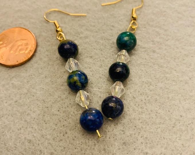 Earth theme beaded dangle earrings
