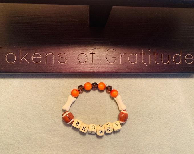 Orange & Brown Beaded Stretch Bracelet