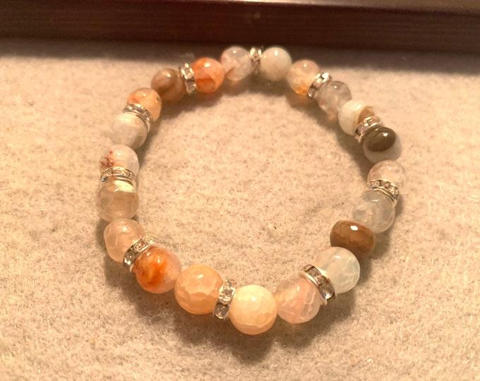 Agate Natural stone beaded stretch bracelet