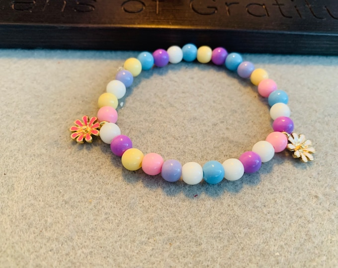 Easter/ Spring pastel beaded bracelet with flower charms