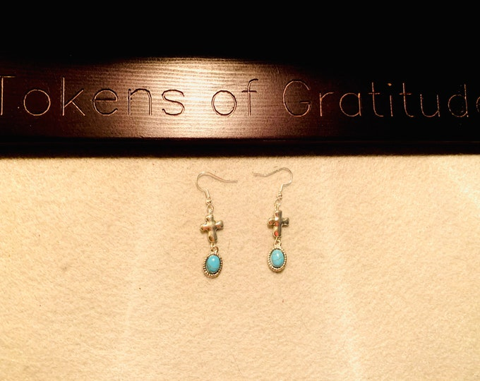 Silver Cross Earrings with Turquoise Drop Charm