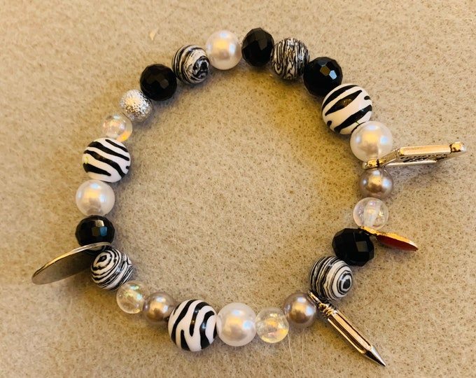 Teacher Appreciation beaded bracelet with charms (all color schemes available ROY G BIV B/W)