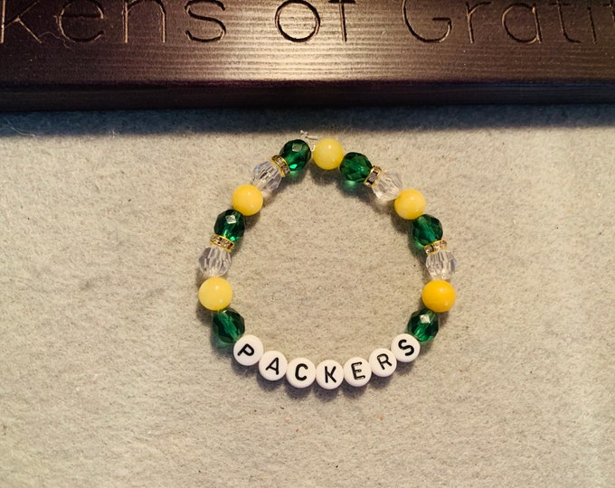 Packers Green/Yellow Beaded Stretch Bracelet