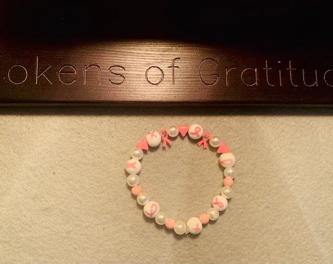 Breast Cancer Awareness Beaded Bracelet