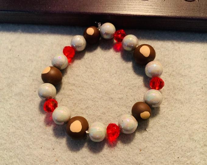 Buckeye beaded stretch bracelet