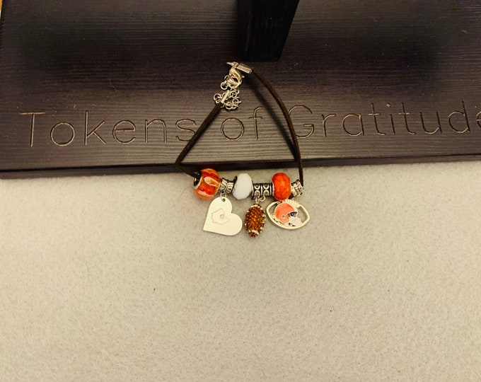 Brown and Orange football Charm Bracelet with pictured charms