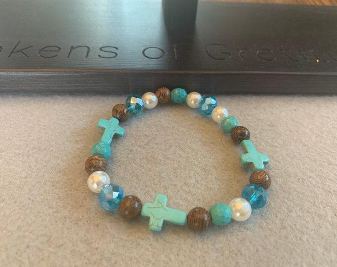 Beaded Turquoise Cross Bracelet with charm