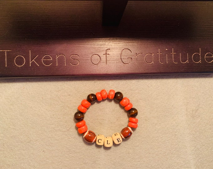 CLE Orange and Brown beaded stretch bracelet with football beads