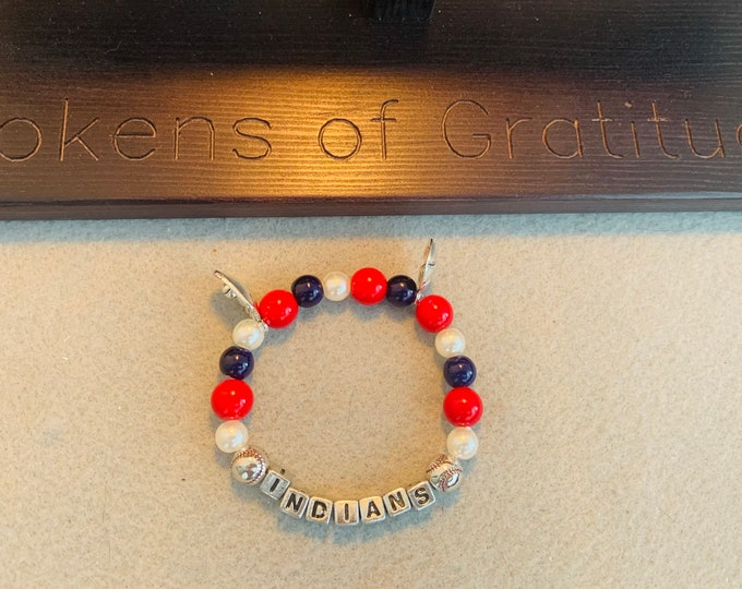 Cleveland beaded bracelet with baseball & mitt charm