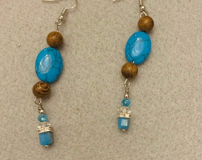Turquoise Color and Brown dangle earrings