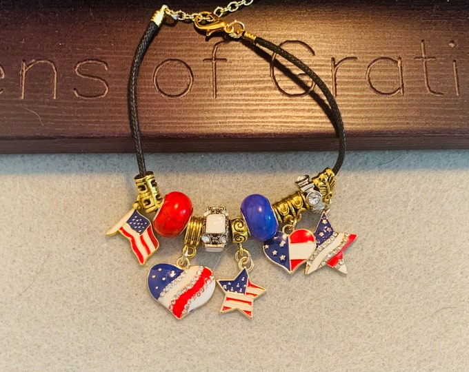 Red, White & Blue Fourth of July Charm Bracelet