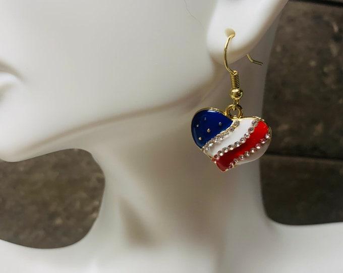 American Flag Heart Earrings