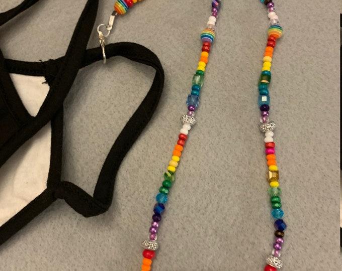 Rainbow Stretch Bracelet/ Mask Holder/Lanyard