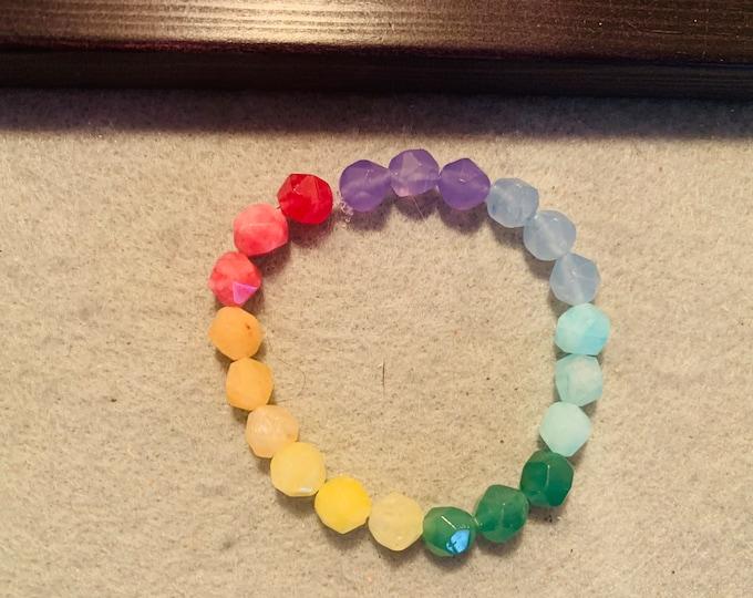 Rainbow colored quartz beaded stretch bracelet