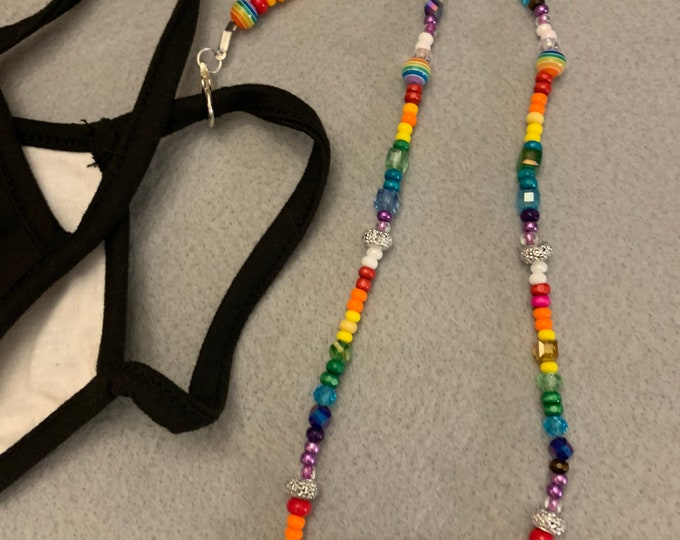 Rainbow beaded lanyard for glasses, masks, or ID Badges (choose size)