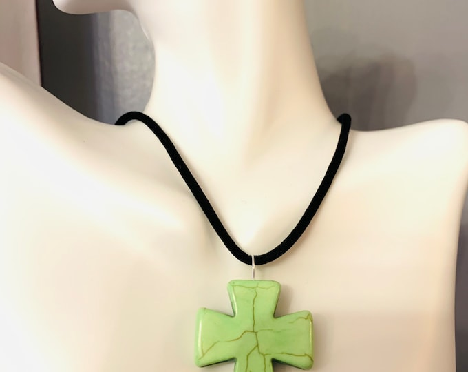 Large Cross Necklace on black cord (customer chooses color of cross from pictured)