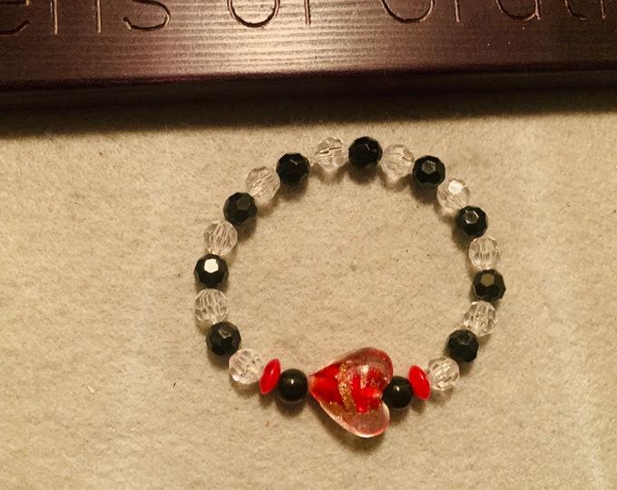 Black and Red Valentine's Heart Beaded Stretch Bracelet
