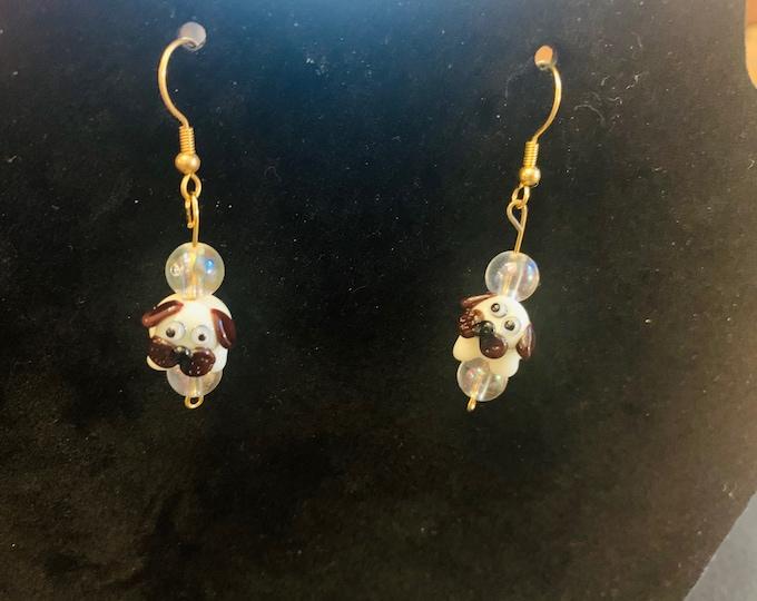 PUG- Glass Bead Earrings (handmade/hand-sculpted glass beads)