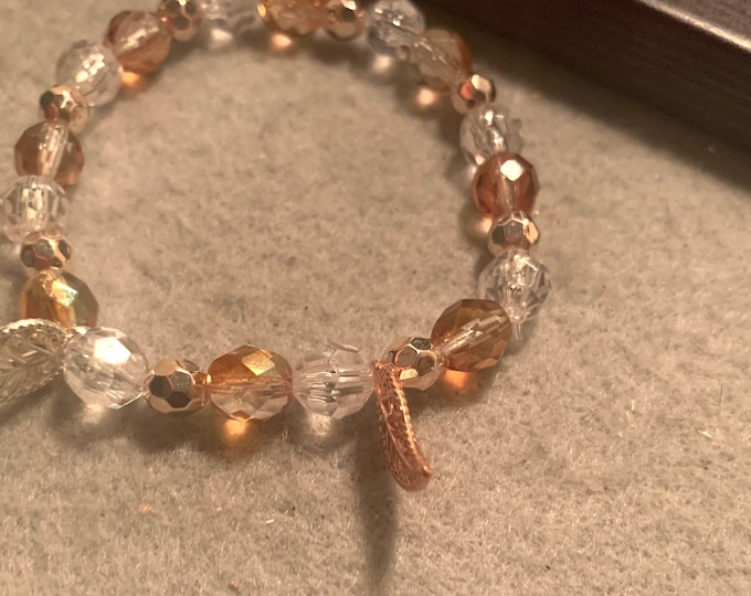 Leaf Charm/stretch bracelet with leaf charms and Rose Gold colored beads