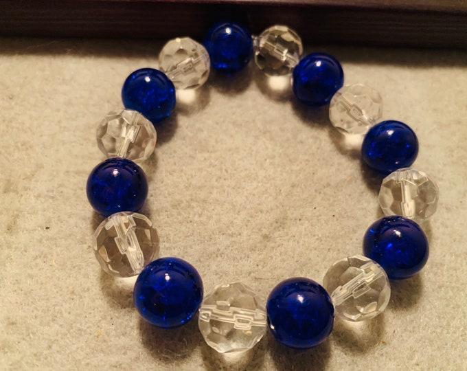 Blue and Clear Poland Bulldogs Beaded Bracelet
