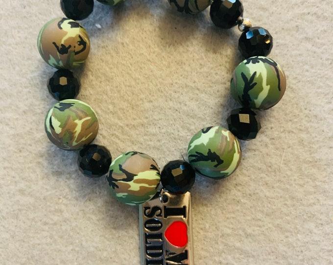 I love my soldier camouflage bracelet
