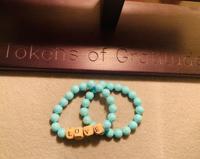 """Bracelet Set of 2-Turquoise/light blue Personalized beaded stretch bracelet with wood letter beads (buyer chooses letters) - pictured """"LOVE"""""""