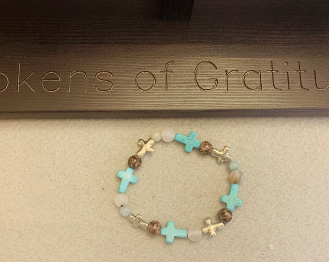 Turquoise and Brown Beaded Bracelet with crosses