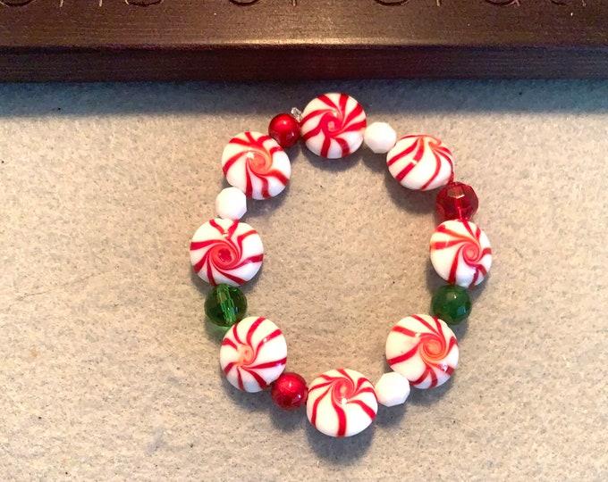 Peppermint Theme Beaded Bracelet