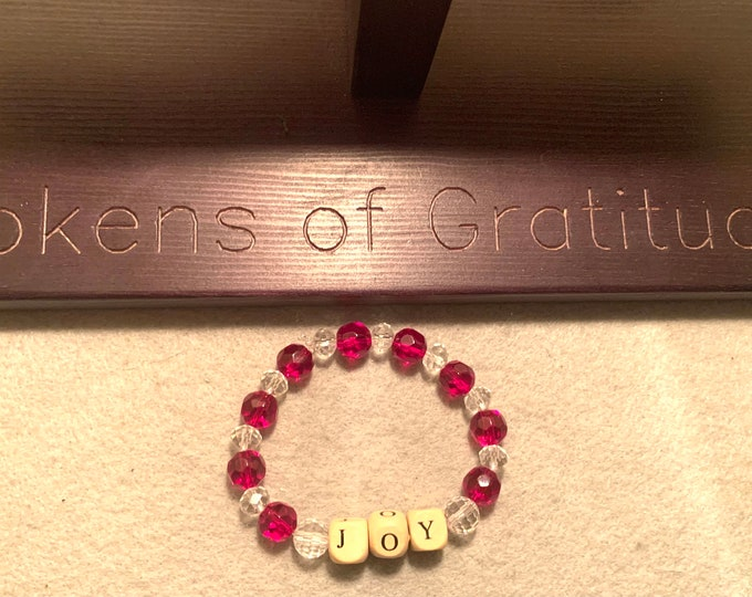 JOY/Holiday colored Beaded Stretch Bracelet with JOY in wooden beads
