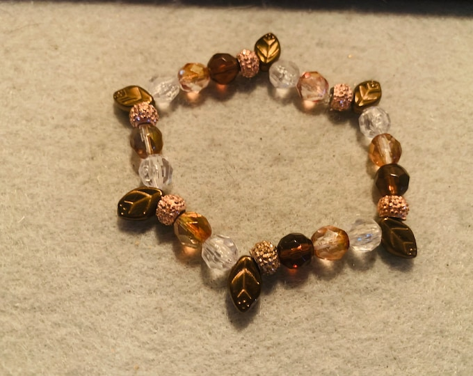 Beige and Brown Fall Leaf beaded stretch bracelet with copper leaf beads