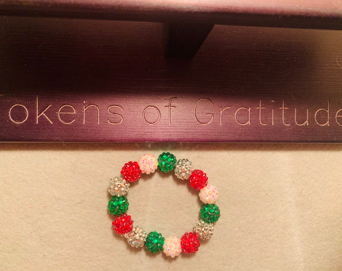 Holiday colored Beaded Stretch Bracelet with rhinestone beads