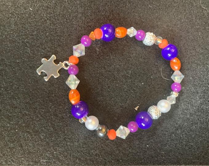 Autism Awareness Beaded Bracelet (Stretch; Buyer Chooses Color Scheme)