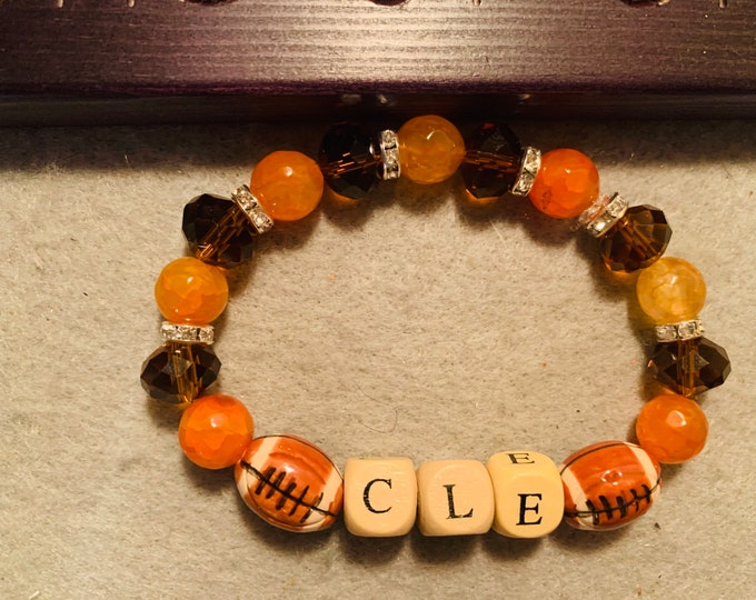 CLE Brown and Orange Beaded Stretch Bracelet