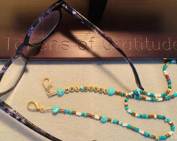 Glasses Lanyard/ Mask Holder -Personalized turquoise color theme Glasses Lanyard (beaded) Mask Holder/Lanyard (personalized)