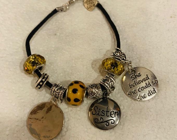 Friendship/ Charm Bracelet with Leopard Beads