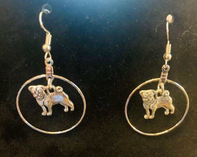 Silver Pug Dangle Earrings (Customer Chooses Plain or in Circle)