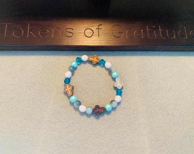 Blue Beaded Multicolor Cross Bracelet