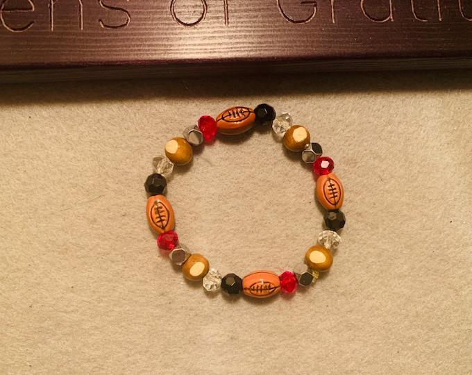Football/Buckeye beaded stretch bracelet