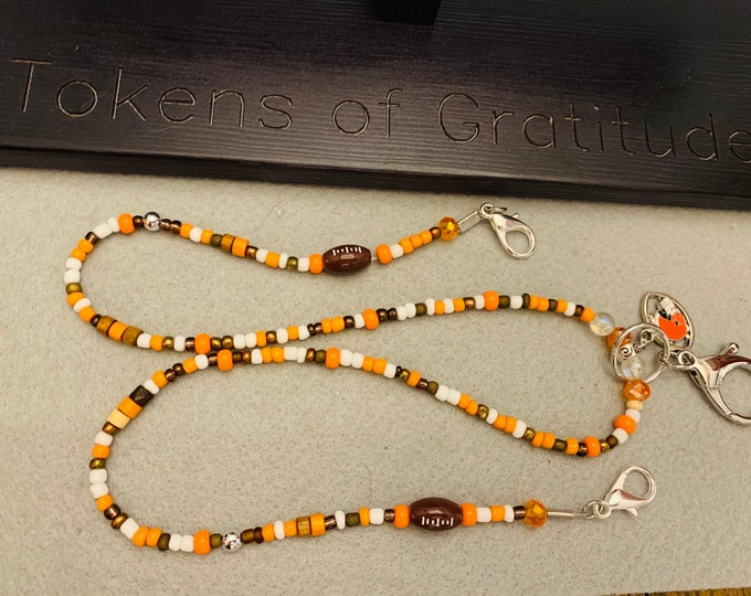 Orange and Brown Beaded Mask Holder/Glasses lanyard (can also be a necklace and badge/ID holder)