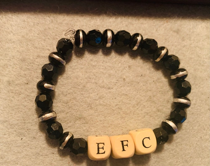 Black and Silver Theme EFC Personalized beaded stretch bracelet with wood letter beads (buyer chooses letters)