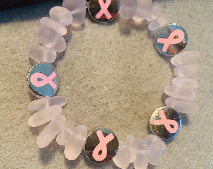 Soft Pink Stone Breast Cancer Awareness Bracelet