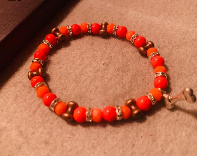 Brown and Orange Beaded Stretch Bracelet