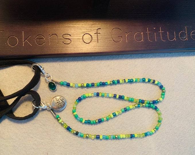 Birthstone/ Family Beaded lanyard (May/sister pictured- customer chooses month or charms)