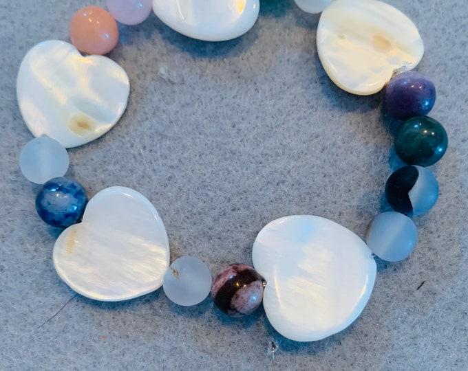 Heart Beaded Bracelet (heart is made from seashells)